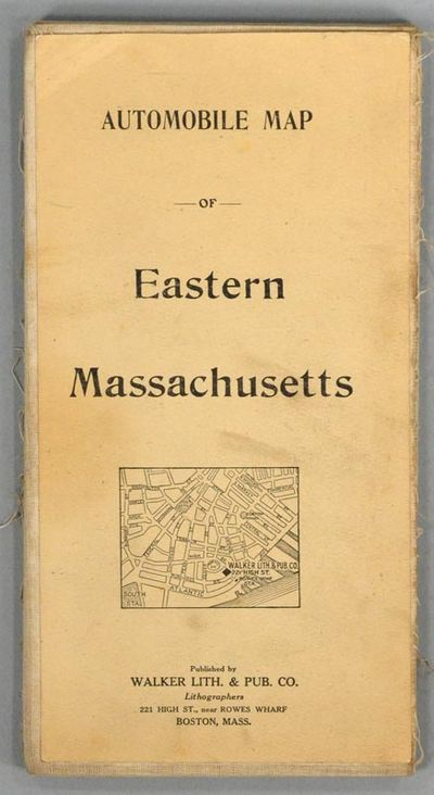 1909. WALKER LITHOGRAPH AND PUBLISHING COMPANY. AUTOMOBILE MAP OF EASTERN MASSACHUSETTS. Boston: Wal...