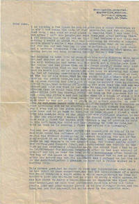 Psychiatric hospital letter from a schizophrenic Alaskan, who murdered his gold-miner father during a paranoid delusion