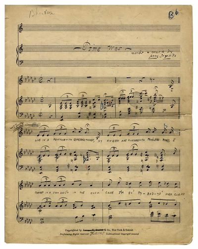 No binding. Very Good. Manuscript Large quarto, 6 pp. vocal score, along with about 16 pp. of instru...
