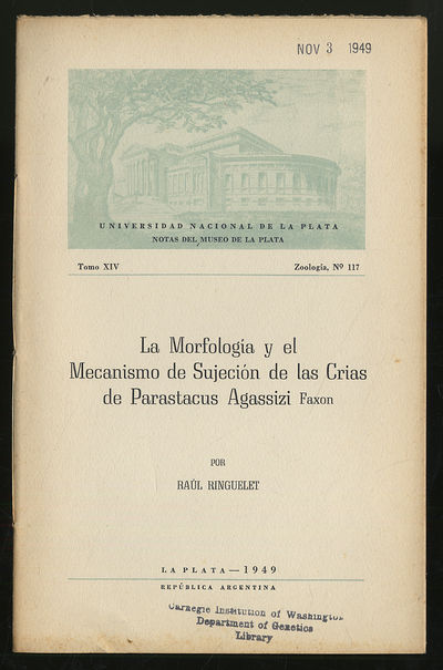 La Plata, Argentina: Museo De La Plata, 1949. Softcover. Very Good. First edition. Tomo XIV Zoologia...