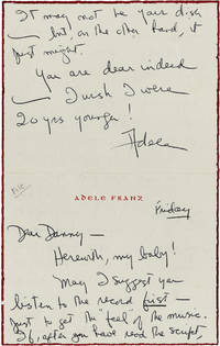 image of Autograph Note from Adele Franz [Longmire] signed to Daniel Selznick, 1969