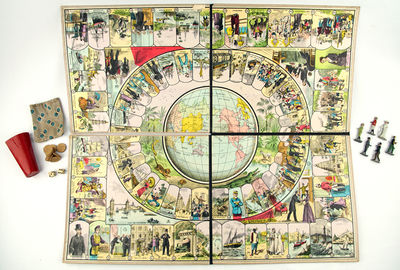 Paris: Les Jouets et Jeux Français, 1895. A board game for up to six players, following the eighty-...