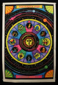 """Aquarian Age"" Blacklight Velvet Astrology Poster, 1974 by Day, L. S - 1974"