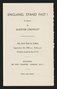 England Stand Fast ! by Aleister Crowley - Paperback - First Edition - 1939 - from GatesPastBooks (SKU: 931792)