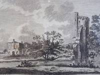 1784 Engraving and Plan of Castor Hall and Caster [Caister] Castle in Norfolk [England]