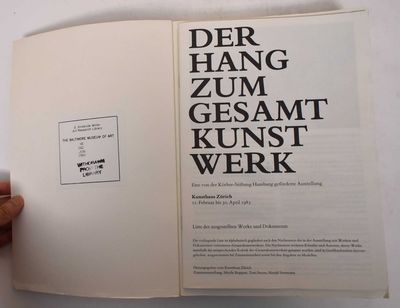 Zurich: Kunsthaus Zurich, 1983. Softcover. VG-. Ex-library with usual marks. Edge wear and creases t...