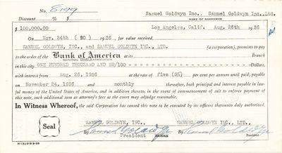 """DS. 2pg. 8 ¼"""" x 4 ½"""". August 26, 1936. Los Angeles. A partly printed loan document signed """"S..."""