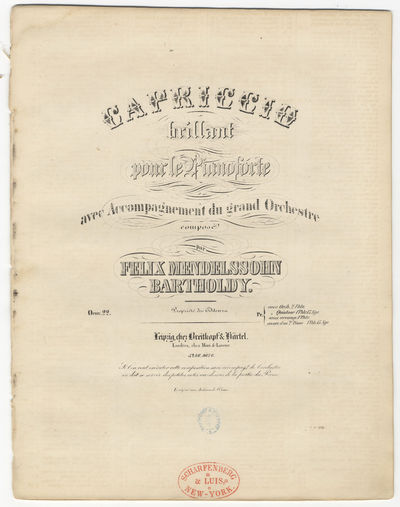 Leipzig: Breitkopf & Härtel , 1858. Folio. (title), (blank), 3-19 pp. Lithographed. Small oval publ...