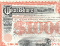West Shore Railroad Company (Hudson River).  First Mortgage Guaranteed Bond, Issued $1,000.00; dated 1892