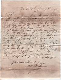 HANDWRITTEN LETTER (ALS) FROM THIS WHALING CAPTAIN [to N & WW Billings, New London, Connecticut] DATELINED AT CAPE VERDE ISL., JUNE 19th, 1833