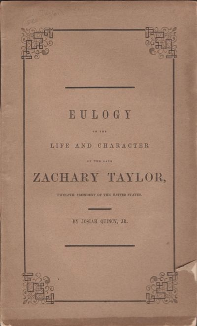 Boston: J. H. Eastburn, City Printer, 1850. First Edition. Wraps. Very good. Wraps. 9.25