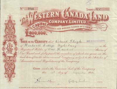 Western Canada Land Company, Limited. Very Good. 1918. Stock certificate dated to September 1918; co...