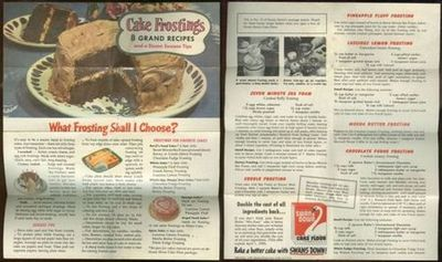 CAKE FROSTINGS 8 Grand Recipes and a Dozen Success Tips, Advertisement