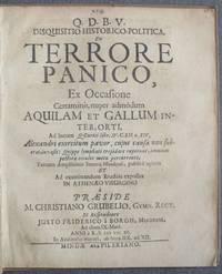 image of Disquisitio Historico-Politica de Terrore Panico, Ex Occasione Certaminis, Nuper Admodum Aquilam et Gallum inter, Orti, ad Locum Z. Curtii libr. IV. C. XII.n. XIV