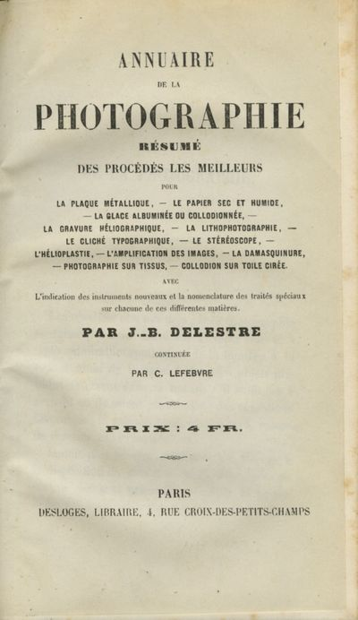 Paris: Desloges, 1858. First edition. 8vo., 208, pp.,1 full-page illustration. Contemporary quarter ...