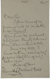 ALS- Field, Michael] Autograph Letter to famed editor Gleeson White