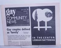 image of GCN: Gay Community News; the weekly for lesbians and gay males; vol. 17, #2, July16-22, 1989; In the Center: Lesbian Battering