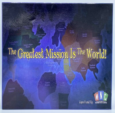 Missionary Novelty Company, 2008. Blue illustrated box Lid is printed with a world map. Box contains...