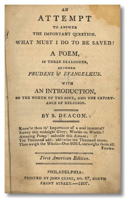 Philadelphia: Printed by John Cline, 1807. xvii,,125pp. 12mo. Contemporary (or original) drab wrappe...