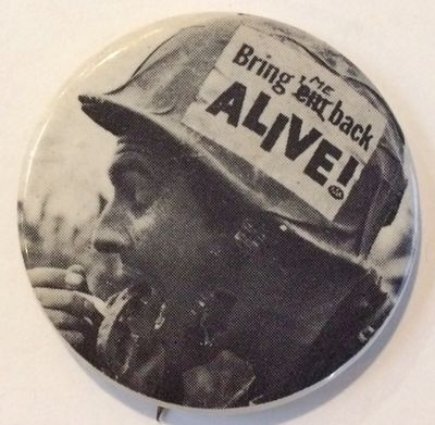 n.p.: n.pub, . 1.75 inch pin depicting a GI with the slogan on a sticker pasted on his helmet. This ...