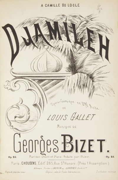 Paris: Choudens , 1872. Large octavo. Half black cloth with black textured cloth boards, titling gil...