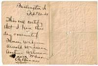 Handwritten Vaccination Certificate, Burlington, Iowa, 1901