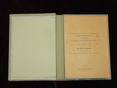 Np; (1923). First Edition. offprint from Sitzungsberichten der Presussichen Akademie der Wissenschaf...