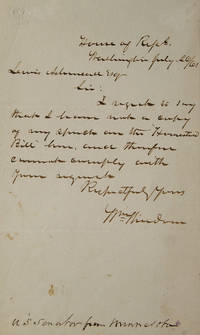 A.L.S. To Lewis Ashmead. Regretting he has no copies of his speech on the Homestead Bill