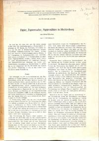 Papier, Papiermacher, Papiermühlen in Mecklenburg.