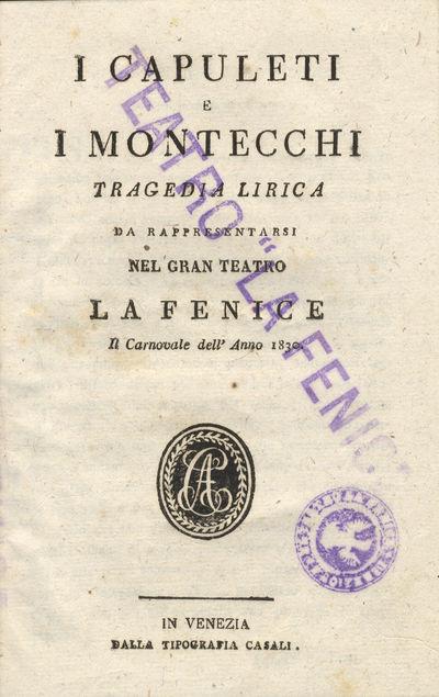 Venezia: Casali, 1830. Small octavo. Contemporary copper wrappers with small oval dark red leather l...