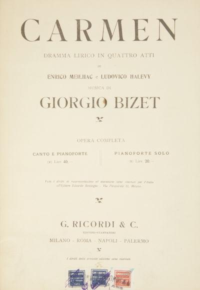 Milano: G. Ricordi & C. , 1927. Large octavo. Full dark purple cloth, manuscript titling in gold ink...