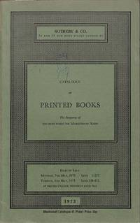 Sale 7/8 May 1973: Catalogue of Printed Books.