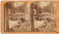 "STEREOSCOPIC VIEW OF ""LITTLE CHIEF"" IRON SPRING, ONE MILE FROM MANITOU HOUSE, MANITOU, COLORADO.  Scenes on the Line of the Denver & Rio Grande Railway"