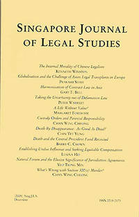 Singapore Journal of Legal Studies
