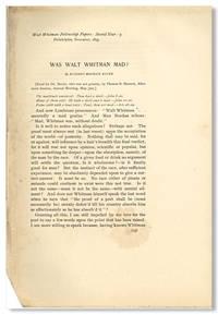WAS WALT WHITMAN MAD? [caption title]