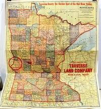MAP OF MINNESOTA:  TRAVERSE COUNTY, THE GARDEN SPOT OF THE RED RIVER VALLEY.  Compliments of Traverse Land Company...Immigration Agents for West Central Minnesota Lands