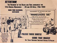 Attention! The Regiment of the Black and Tans announces the 13th Annual Maneuvers - 29 and 30 April, 1 May 1988. Mark your calendars, gentlemen! [handbill]