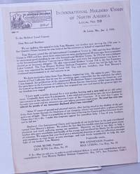 image of [Fundrasing letter for Tom Mooney] To the Molders' Local Unions...
