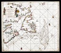 Pas-kaart vande zee-kusten van Terra Nova, met de byleggende zee-kusten van Francia Nova, Canada en Accadie van c. de Sables tot de mond vande straad davids..