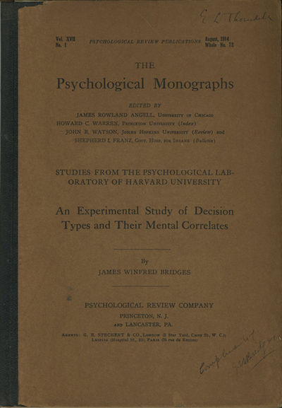Princeton: Psychological Review Co., 1914. First edition. Quarter cloth over paper covered boards. A...