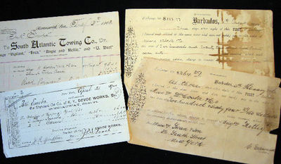 New York: Swan & Son, 1900. 4 documents include: a 1900 disbursement on Da Costa & Co. Barbados pape...