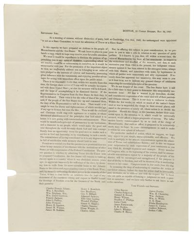 This small abolitionist broadside circular to the clergy of Massachusetts urged them to