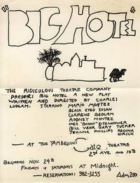 BIG HOTEL: A FARCE (1968) Flyer for Charles Ludlam stage production