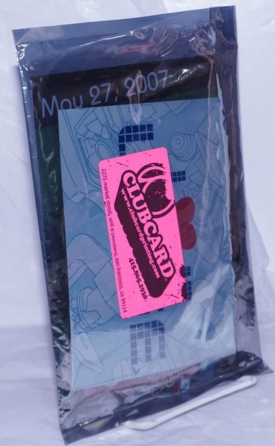 San Francisco: Clubcard printing, no date. Sealed mylar bag of sample postcards, stickers, mailers, ...