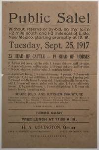Public Sale! Without Reserve or By-bid, on My Farm 1-2 Mile South and 1-2 Mile East of Elida, New Mexico...[caption title]