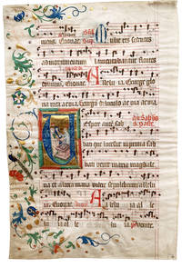 Leaf from a Medieval Antiphonal with miniature of The Three Marys at the Sepulchre in an initial 'V' with musical notation