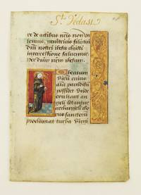 TEXT FROM THE SUFFRAGES by  WITH SMALL MINIATURES OF SAINTS FROM A BOOK OF HOURS IN LATIN  OFFERED INDIVIDUALLY - late 15th century - from Phillip J. Pirages Fine Books and Medieval Manuscripts (SKU: ST12668bK)