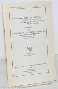 image of Patterns of Communist Espionage. Report by the Committee on Un-American Activities, House of Representatives, Eighty-Fifth Congress, Second Session