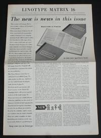 "image of Linotype Matrix - Number 16, June 1953. ""A Journal Published from Time to Time by Linotype and Machinery Limited"