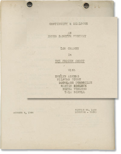 Universal City, CA: Universal Pictures, 1944. Post-production Continuity & Dialogue script for the 1...
